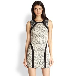 PARKER Patterned Cream & Black Bodycon Dress